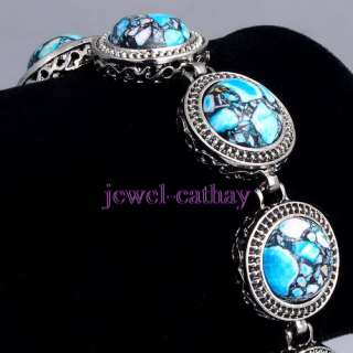 Blue TURQUOISE Beads and Tibet Silver Inlaid Gemstone Cuff Bracelet