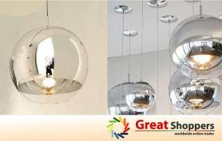 Chrome Glass Mirror Ball Ceiling Lighting Pendant Lamp Light (15cm