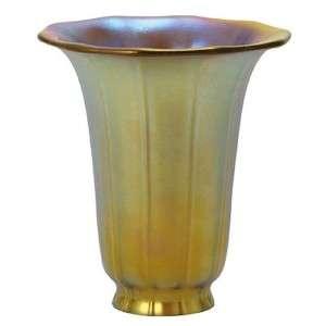 GOLD IRIDESCENT AURENE GLASS TRUMPET LAMP SHADE