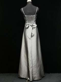 Satin Grey Rose Long Ball Gown Wedding/Evening Dress UK 18 20