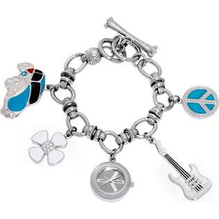 Brand Lucky Brand Womens Peace Charm Stainless Watch   Silver