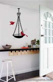 Bird Bath Feeder Vinyl Wall Decal Stickers Room Decor