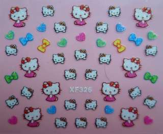 NEW SPARKLY HELLO KITTY 3D NAIL/DECAL/STICKERS~30 DESIGNS NEW CARTOON