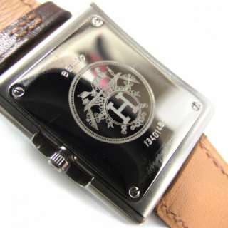 HERMES Box Leather BELT Watch Time Piece Brown Silver