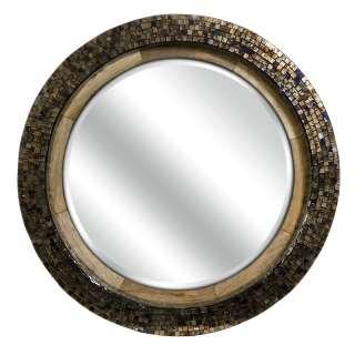 Contemporary Mosaic Round Mango Wood Metallic Mirror