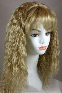 Medium Golden Blond Long Wavy Wig w/Bangs, Soft S Waves