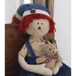 Prim Primitive Country RAGGEDY ANDY BOY RAG DOLL w/ BEAR  Toys
