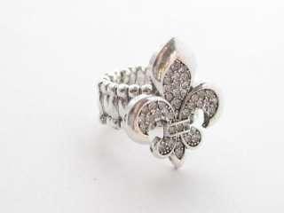 Fleur De Lis Crystal Stretch Ring Sorority Jewelry Silv
