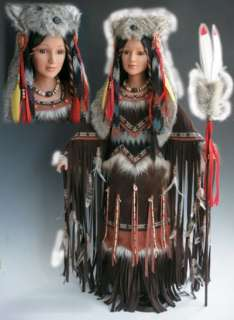 NIB 32 Porcelain Native American Indian Princess Doll Tala Wolf Hat