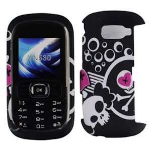 Black with Pink White Skull Heart Design Rubberized Snap