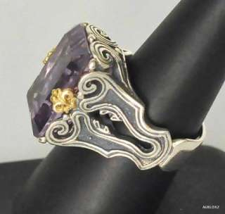 New KONSTANTINO Sterling Silver 18K Gold Amethyst Solitaire Ring 7 1/2