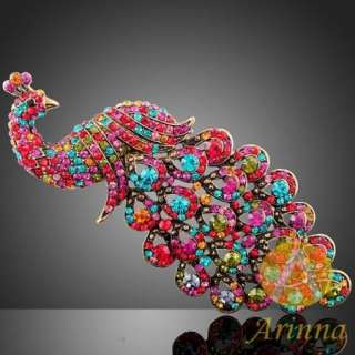 ARINNA chic color peacock Swarovski Crystals Brooch Pin
