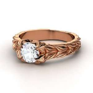 Rose and Thorn Ring, Round White Sapphire 14K Rose Gold