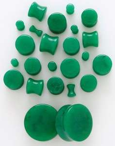 Green Jade Solid Saddle Ear Plugs 8G 6G 4G 2G 0G 00G OR 1/2