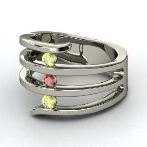 Zen Garden Ring, Round Red Garnet 14K White Gold Ring with Peridot