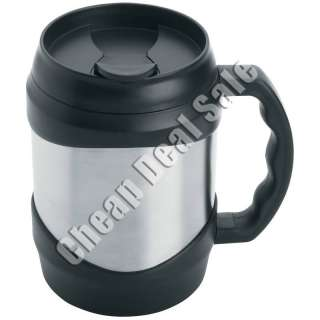Mug 52oz Stainless Steel Large Big Oversized Huge Black Coffee Travel