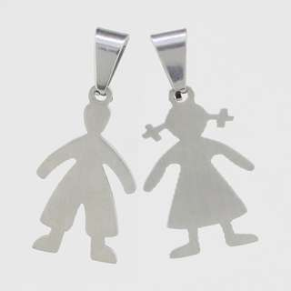Stainless Steel Crystal Handsome Boy And Bashful Girl Pendant