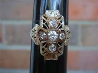 American Beauty 14K Gold Diamond Ring UR Filigree *WOW*