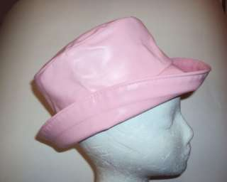 LADY LEATHER BUCKET HAT FEDORA CAP HIP HOP RAP PINK USA