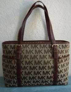 Michael Kors Large Logo Monogram Jet Set Shopper Tote Handbag