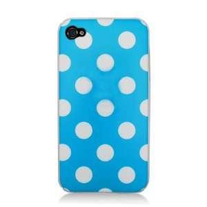 TPU iPhone 4S Candy Skin Cover Case Polka Dots Blue White 4S/4 Verizon