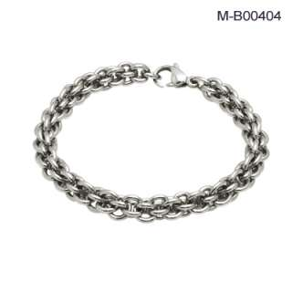 more views men s stainless steel linked chain or bike chain bracelet
