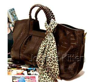 Korea Fashion Women HOBO TOTE HANDBAG SATCHEL W/ SCARF