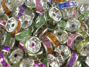 Mixed 500pcs Crystal Rhinestone Inlay Rondelle spacer Beads fit Charms