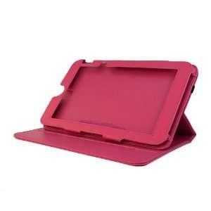 EVECase Hot Pink Premium Leather Multi Angle Rotating Folio Cover Case