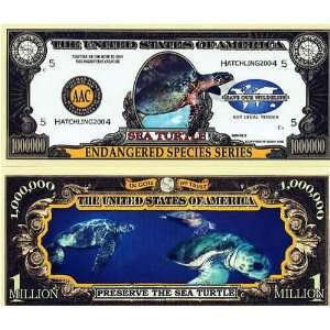 Set of 10 Bills Endangered Sea Turtle Million Dollar Bill