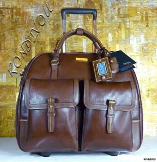 CARLOS FALCHI 73200 LEATHER WHEELED CARRY ON LUGGAGE BUSINESS CASE BAG