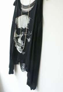 Fashion Street Punk Style Loose Leisure Skull Fringed Vest T shirt