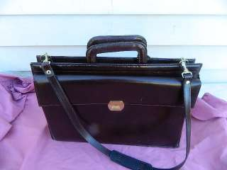 AWESOME ALL TOP GRAIN LEATHER SLIP HANDLE BRIEFCASE BROWN W/SHOULDER