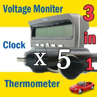 Car Alarm Battery LCD Monitor Display Temperature Thermometer Time