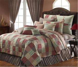 Primitive Country Quilt Bedding Summers Edge Blues Red Patchwork Hand