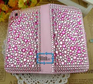 Rhinestone Bling Wallet Case Cover F iPhone 3 3G/S#A536