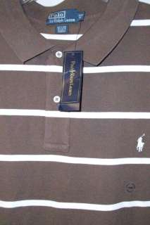 NWT POLO RALPH LAUREN WHITE STRIPED BROWN MESH COTTON SHIRT 3XLT 3XL