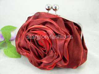 Charming Red/Burgundy Rose Satin Wedding Purse Clutch
