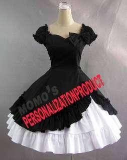 cosplay cute bow knee length black dress white skirt 2pcs