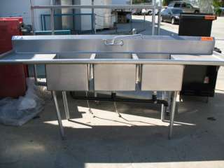 Universal Stainless Steel Commercial Kitchen 3 Compartment Sink w