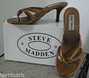 STEVE MADDEN BRONZE METALLIC KISSES SANDAL SLIDE 6.5