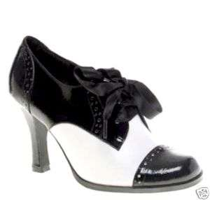 NEW BLACK & WHITE PATENT OXFORD BOOTIES LACEUP SHOE 9