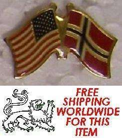 Hat Lapel Pin Tie Tac Push USA and Norway Flags Crossed NEW