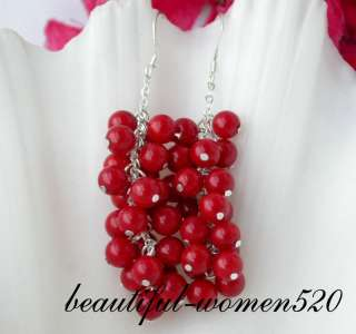 nature 5mm red coral dangle earring 925silver hook