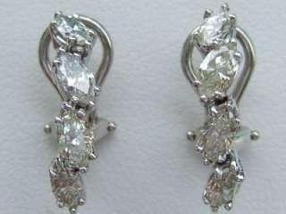 Elegant 14k. White Gold Marquise Diamond Earrings, New