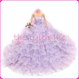 Fashion Bridal Wedding Dress Gown & Veil for Barbie Doll Princesse