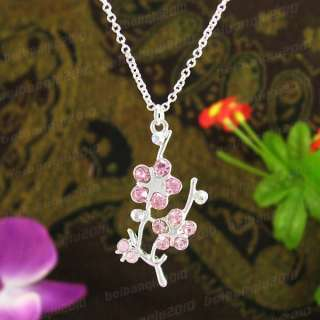 Fashion Jewelry Crystal Plum Pendant Necklace N1224I