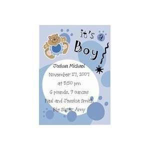 B2005   5 x 7 inch Baby Boy Teddy Bear Card Announcements