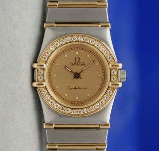 Ladies / Womens Omega Constellation 18K Gold SS Watch Gold Dial