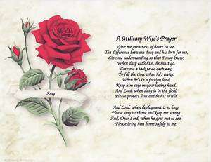 ARMY MILITARY Wife Poem Prayer Personalized Name Print
